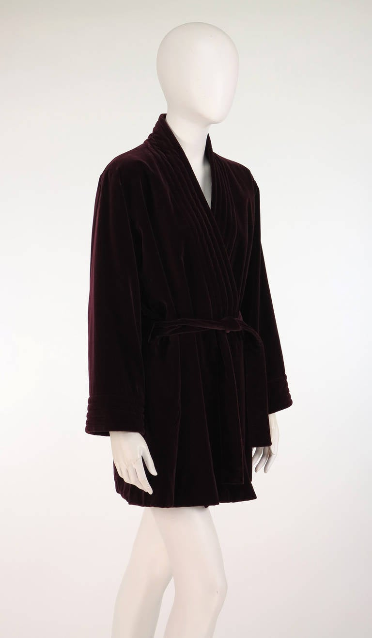 1970s Yves St Laurent YSL Le Smoking garnet velvet wrap jacket For Sale 2