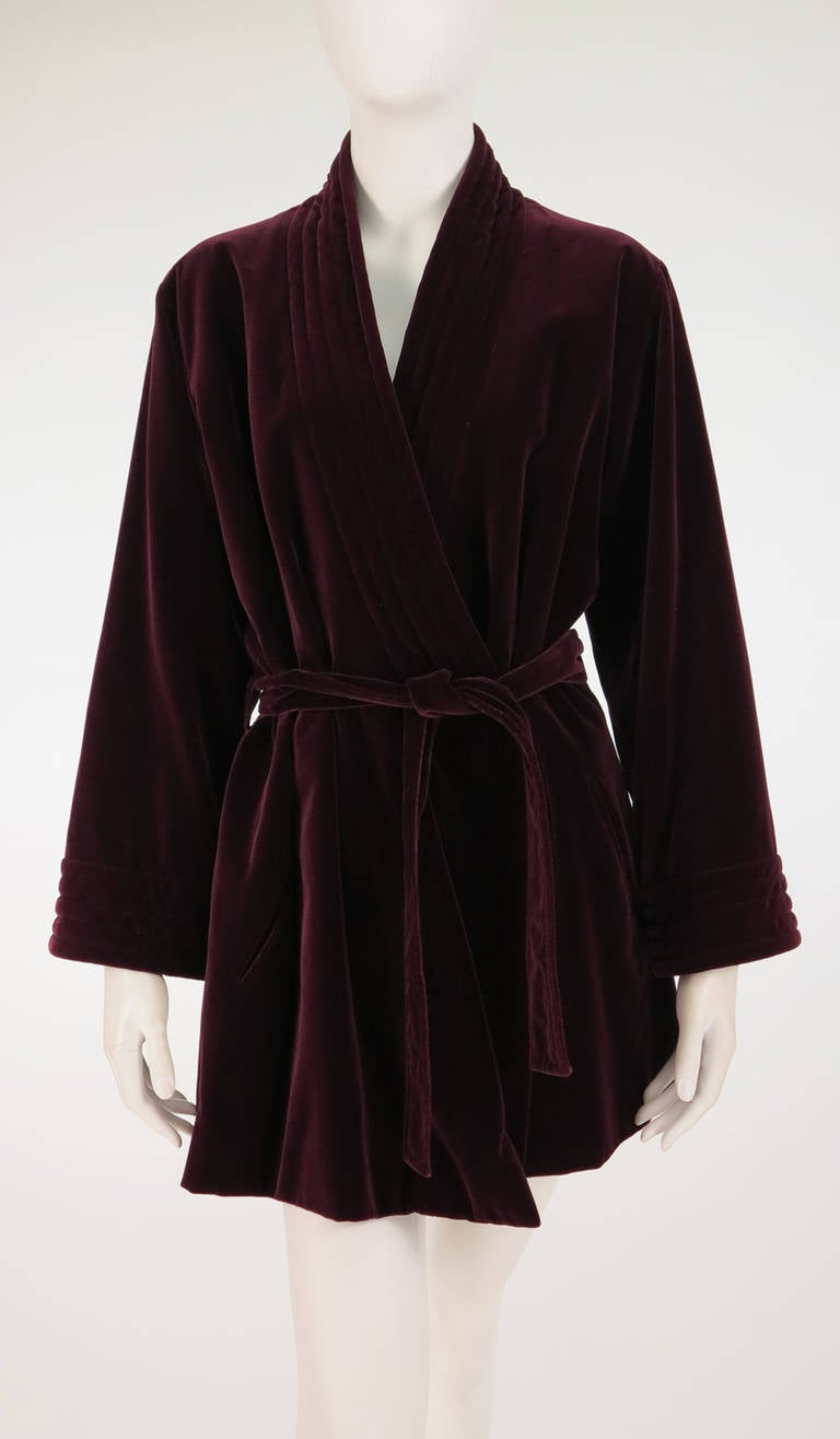 1970s Yves St Laurent YSL Le Smoking garnet velvet wrap jacket For Sale 3
