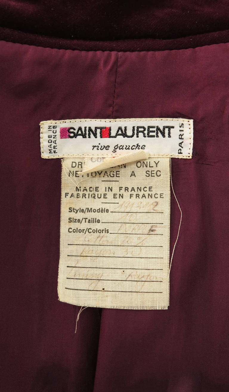 1970s Yves St Laurent YSL Le Smoking garnet velvet wrap jacket For Sale 4