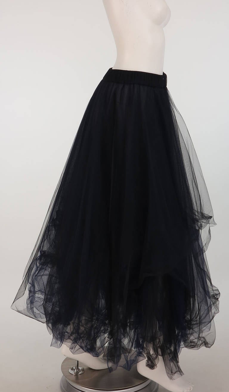 1990s Chanel layered tulle skirt in black & blue 2