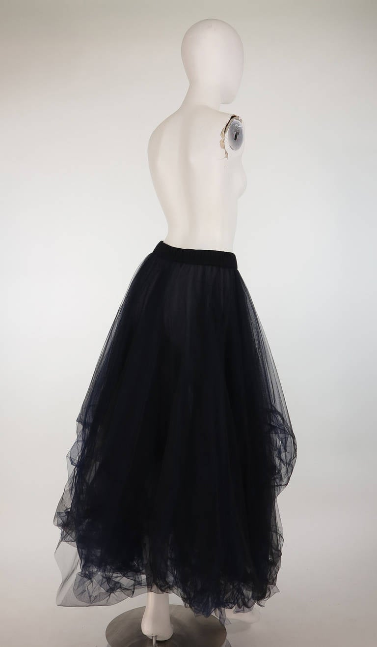 1990s Chanel layered tulle skirt in black & blue 3