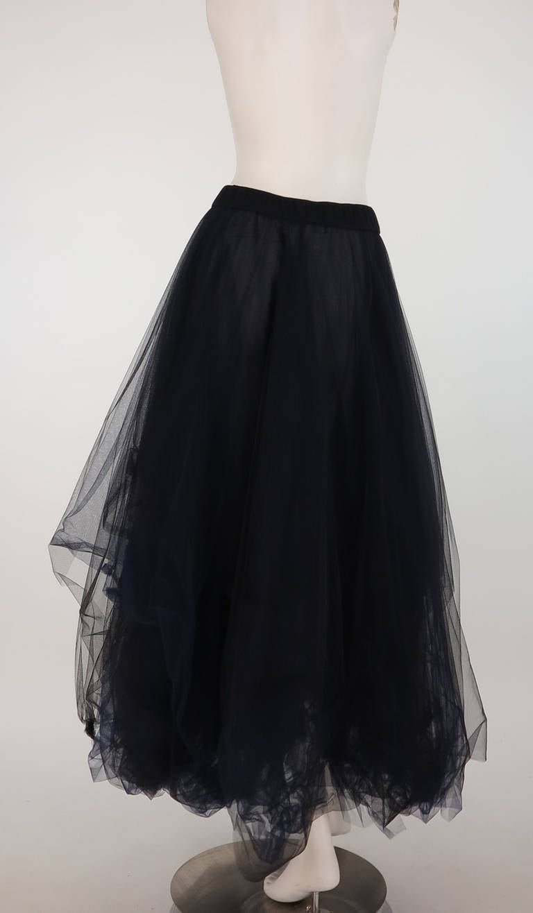 1990s Chanel layered tulle skirt in black & blue 4