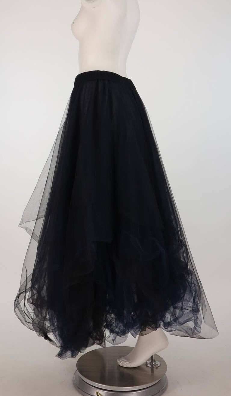 1990s Chanel layered tulle skirt in black & blue 5