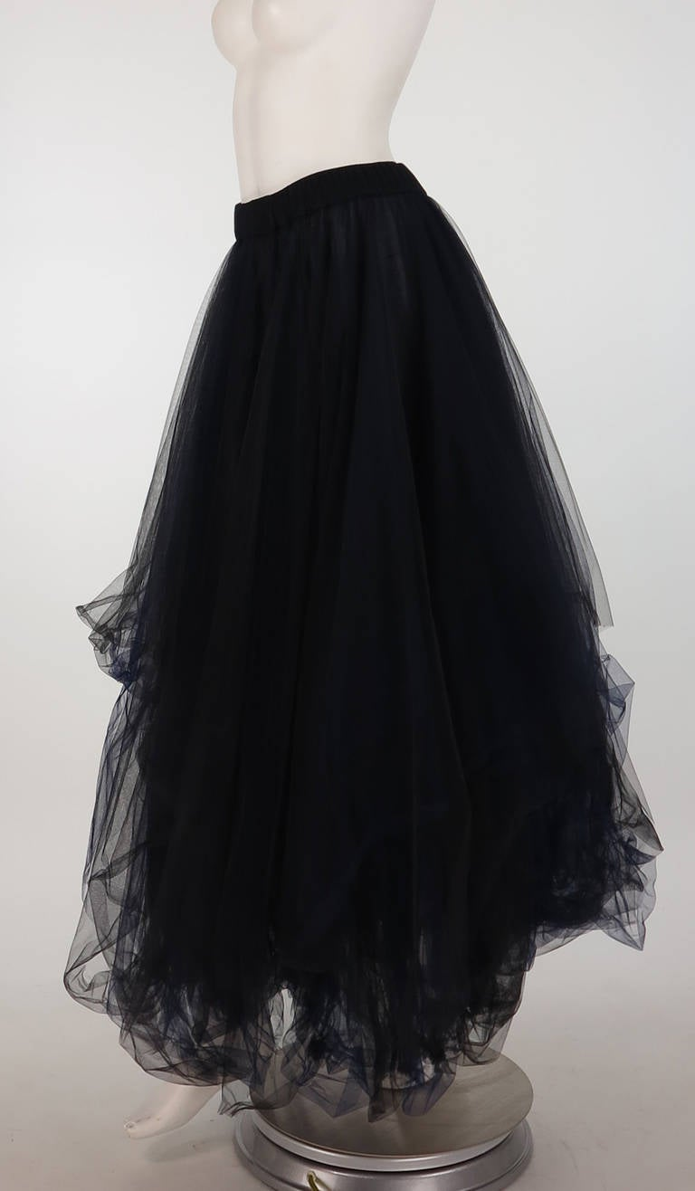1990s Chanel layered tulle skirt in black & blue 6