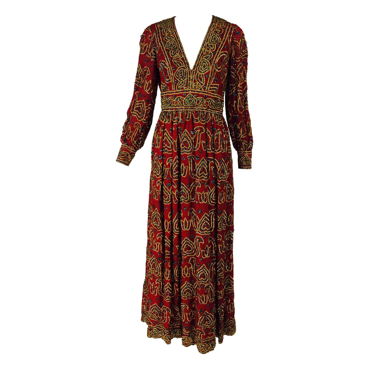 Oscar de la Renta currant red silk chiffon gown with gold braid & sequins 1970s For Sale