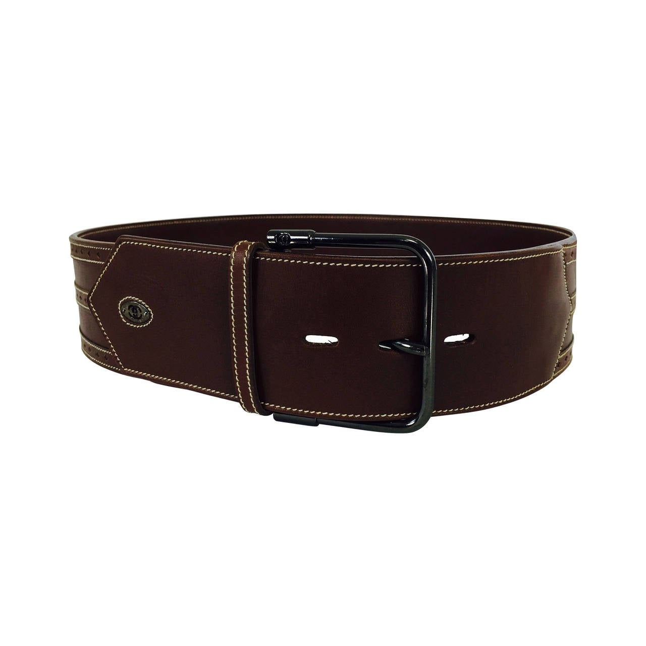 gucci chocolate brown wide leather belt 42 for sale at 1stdibs