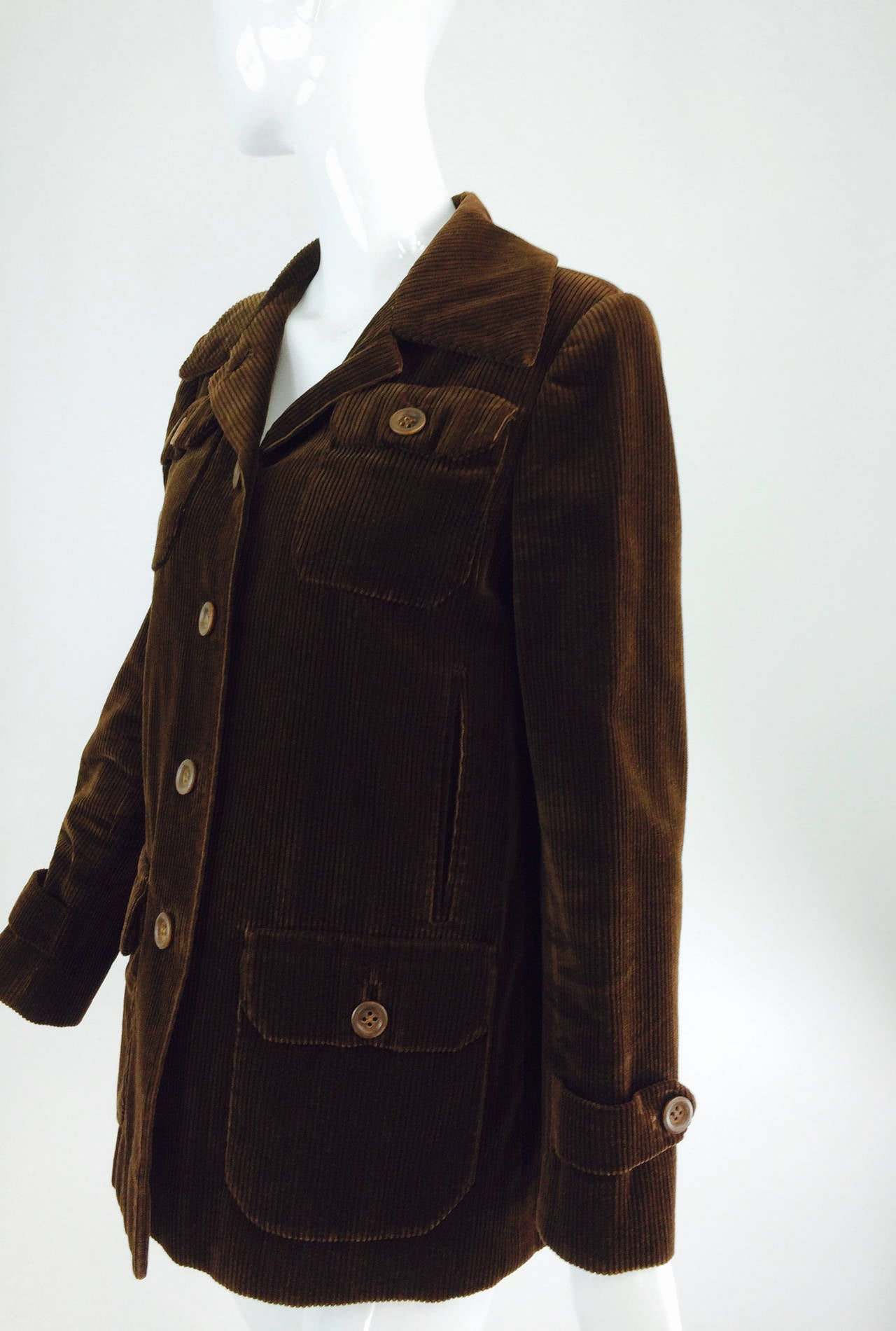 Women's Bill Blass chocolate brown corduroy country jacket early 1970s For Sale