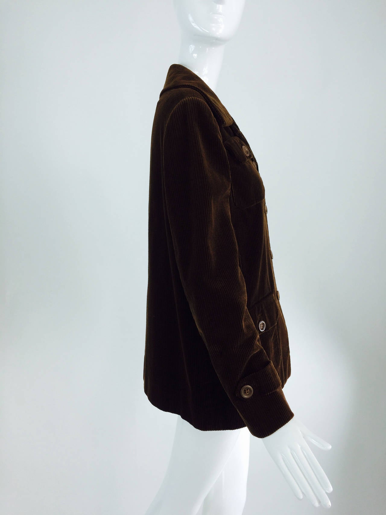 Black Bill Blass chocolate brown corduroy country jacket early 1970s For Sale