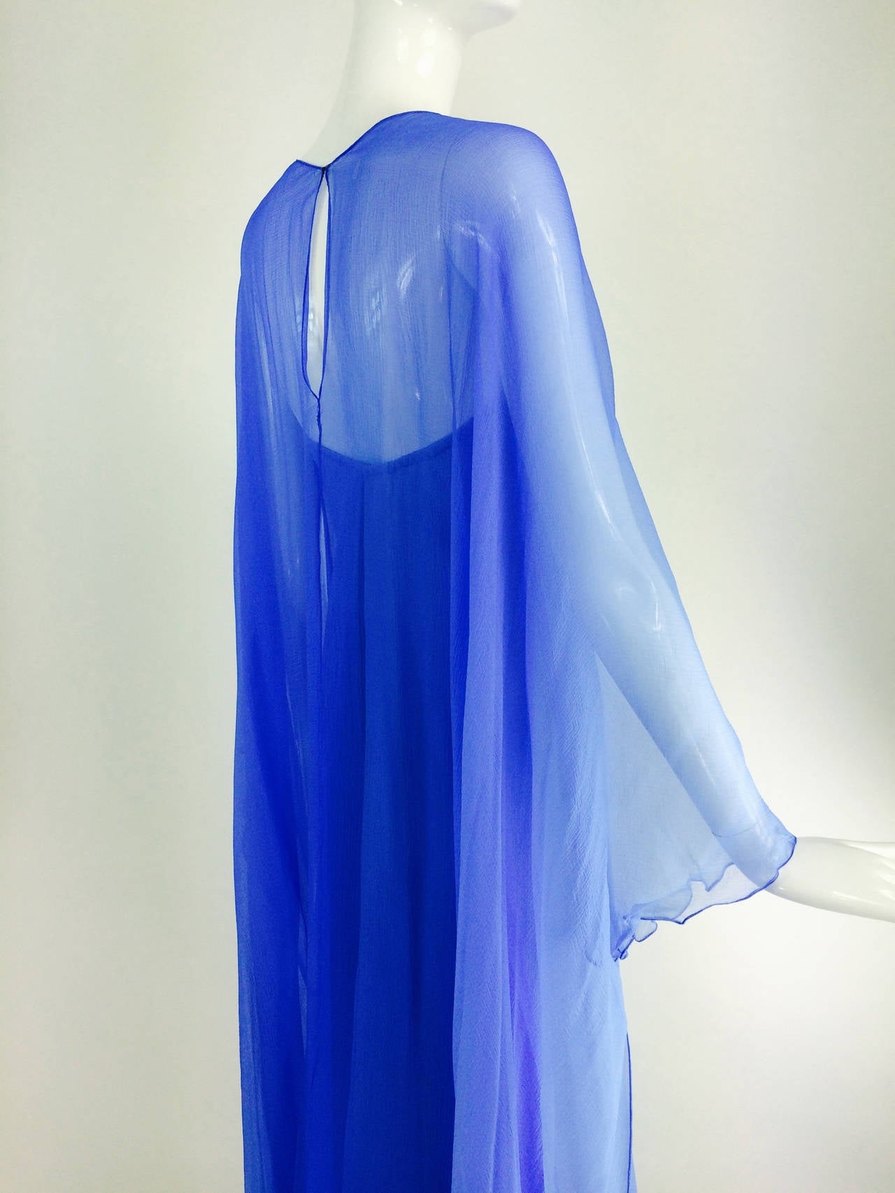 Women's Fiandaca Cerulean Blue tonal silk chiffon gown 1990s For Sale