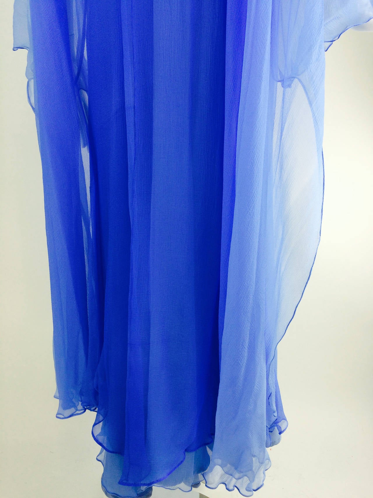 Fiandaca Cerulean Blue tonal silk chiffon gown 1990s For Sale 1