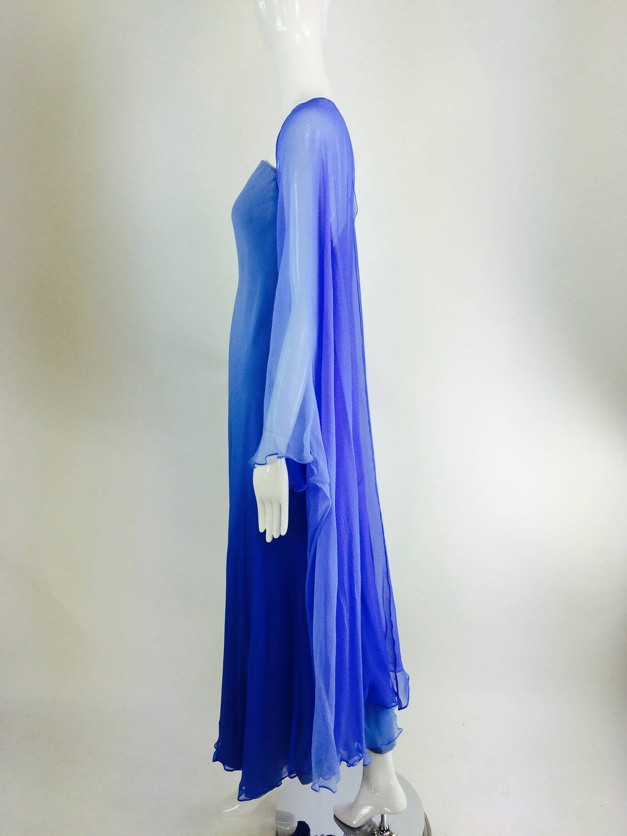 Fiandaca Cerulean Blue tonal silk chiffon gown 1990s For Sale 3