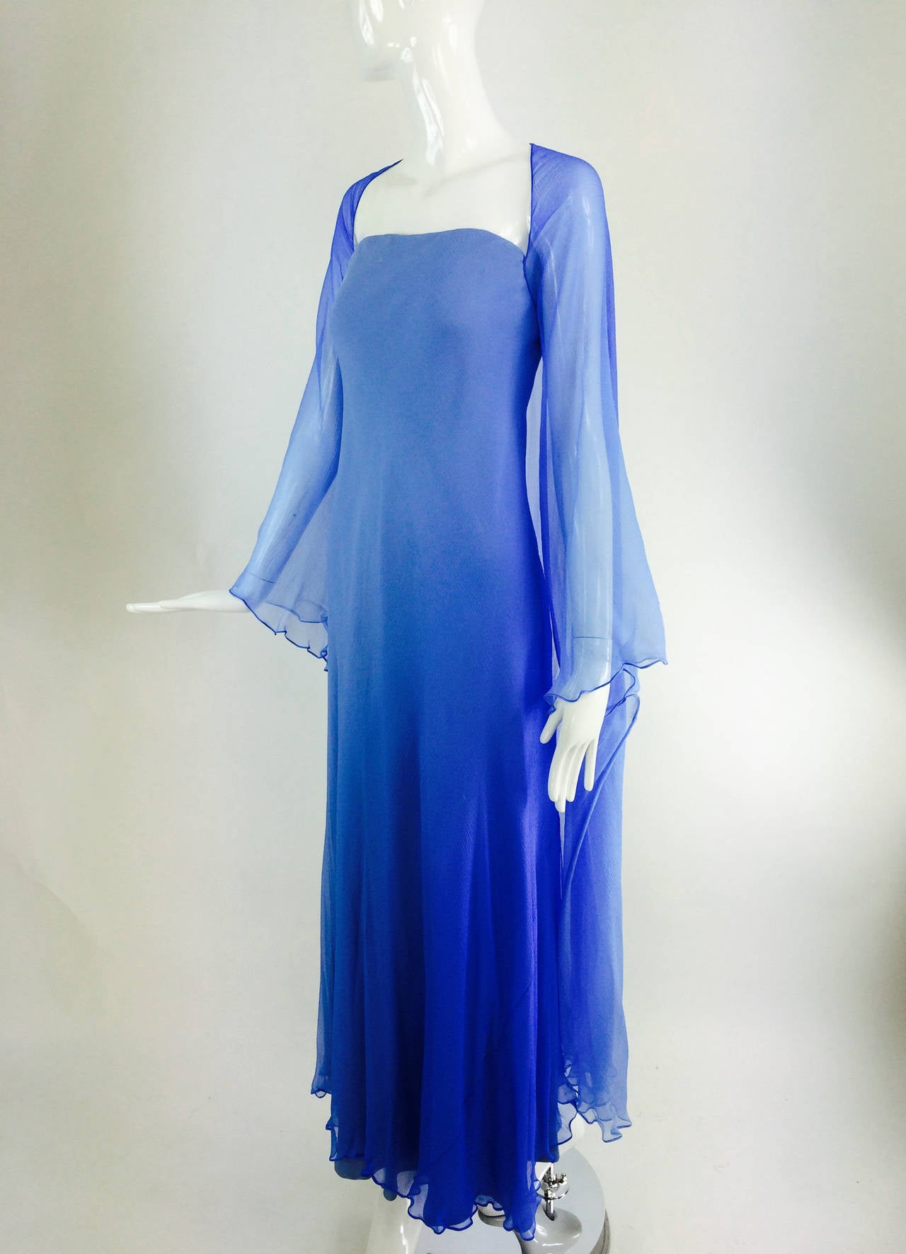 Fiandaca Cerulean Blue tonal silk chiffon gown 1990s For Sale 4
