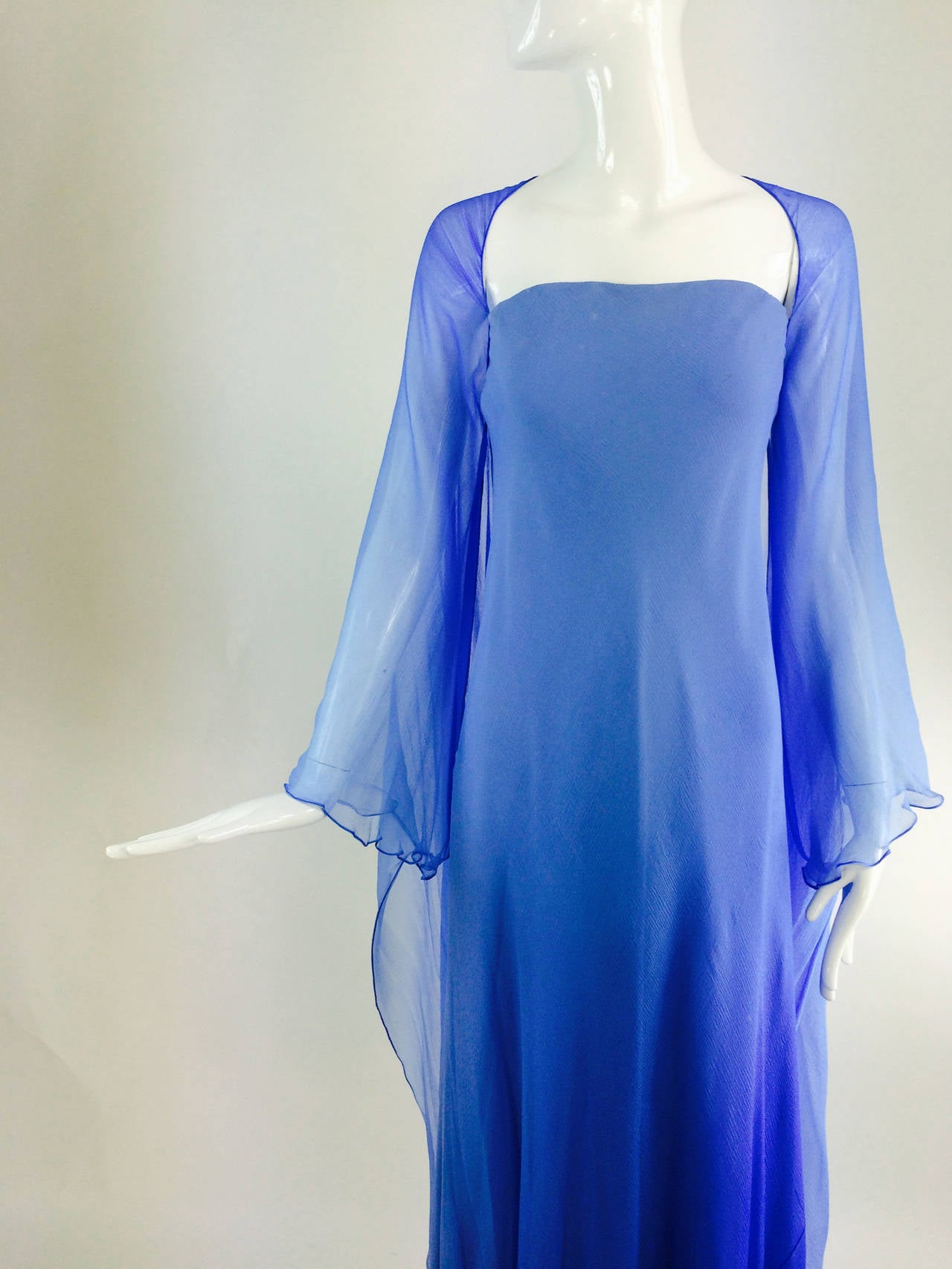 Fiandaca Cerulean Blue tonal silk chiffon gown 1990s For Sale 5
