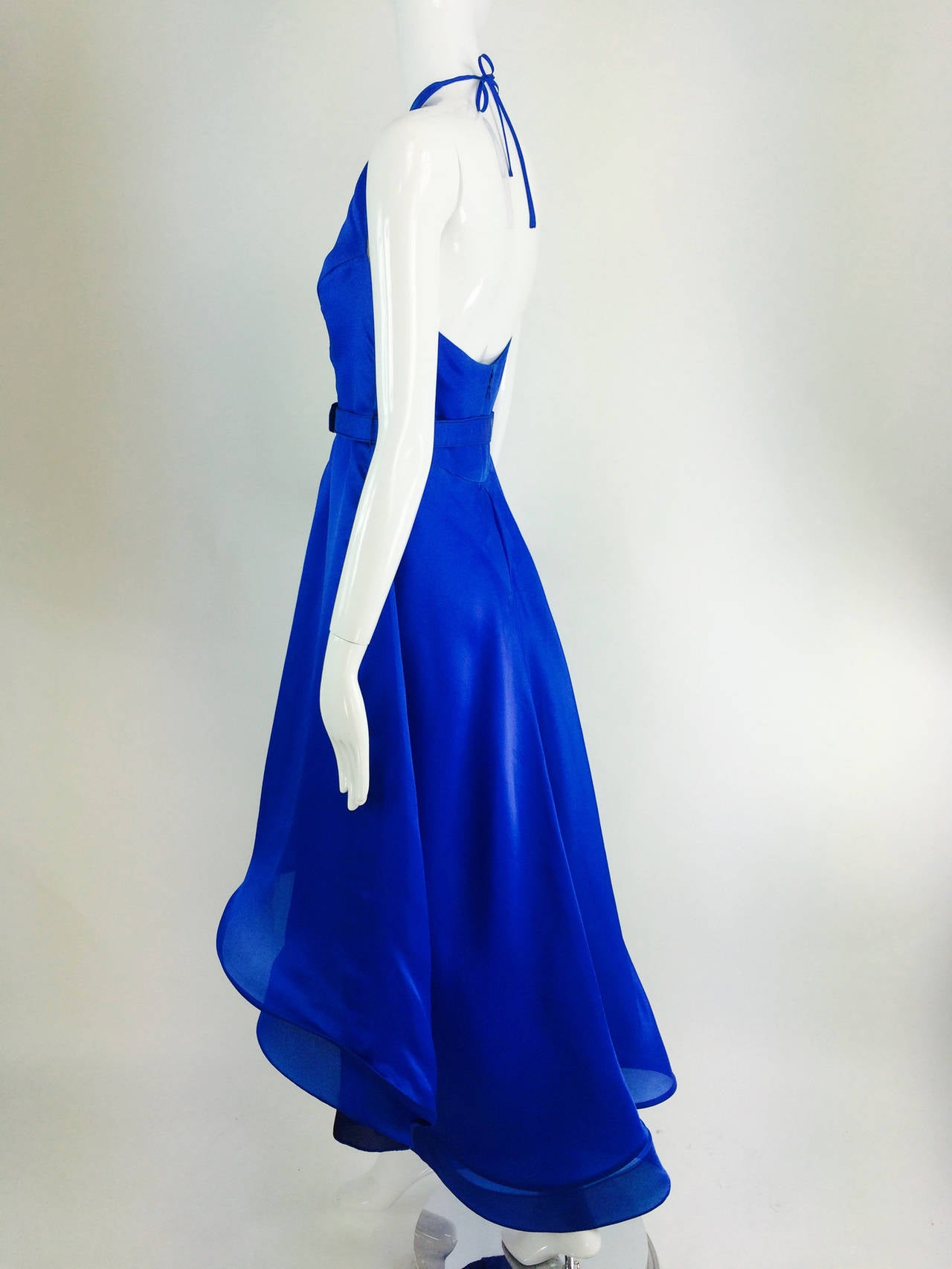 Fiandaca cerulean blue silk halter neck shaped hem gown 1990s For ...