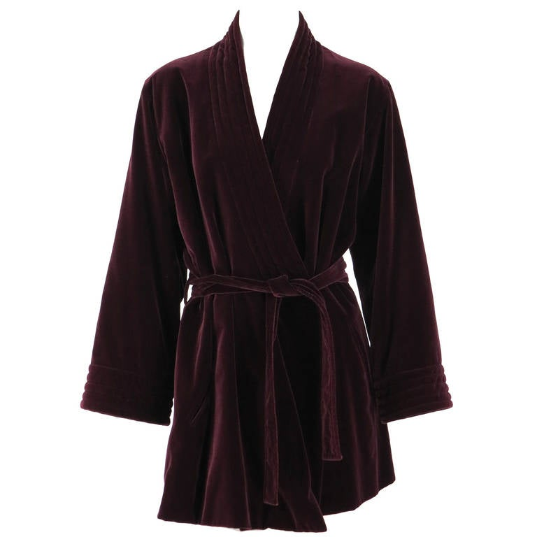 1970s Yves St Laurent YSL Le Smoking garnet velvet wrap jacket For Sale