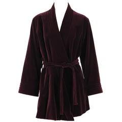 1970s Yves St Laurent YSL Le Smoking garnet velvet wrap jacket
