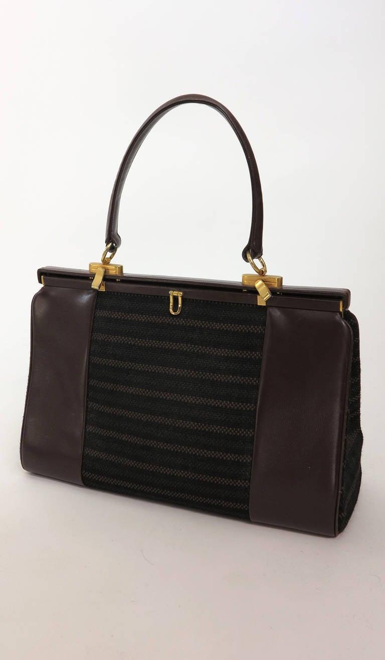 1960s Finnigans Of Bond St London Uk Large Frame Leather Woven Wool Handbag