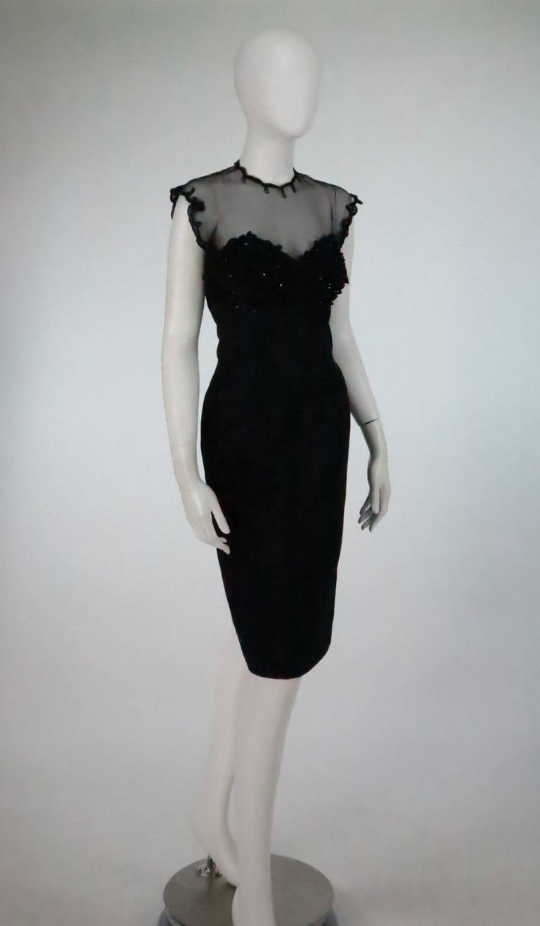 Fabulous black silk faille & silk illusion cocktail dress from Tur Zel Miami Beach Florida, from the 1950s...In the 1940s & 50s Miami Beach's Lincoln Rd. was the epicenter of Southern fashion, the street was home to some of the best custom fashion