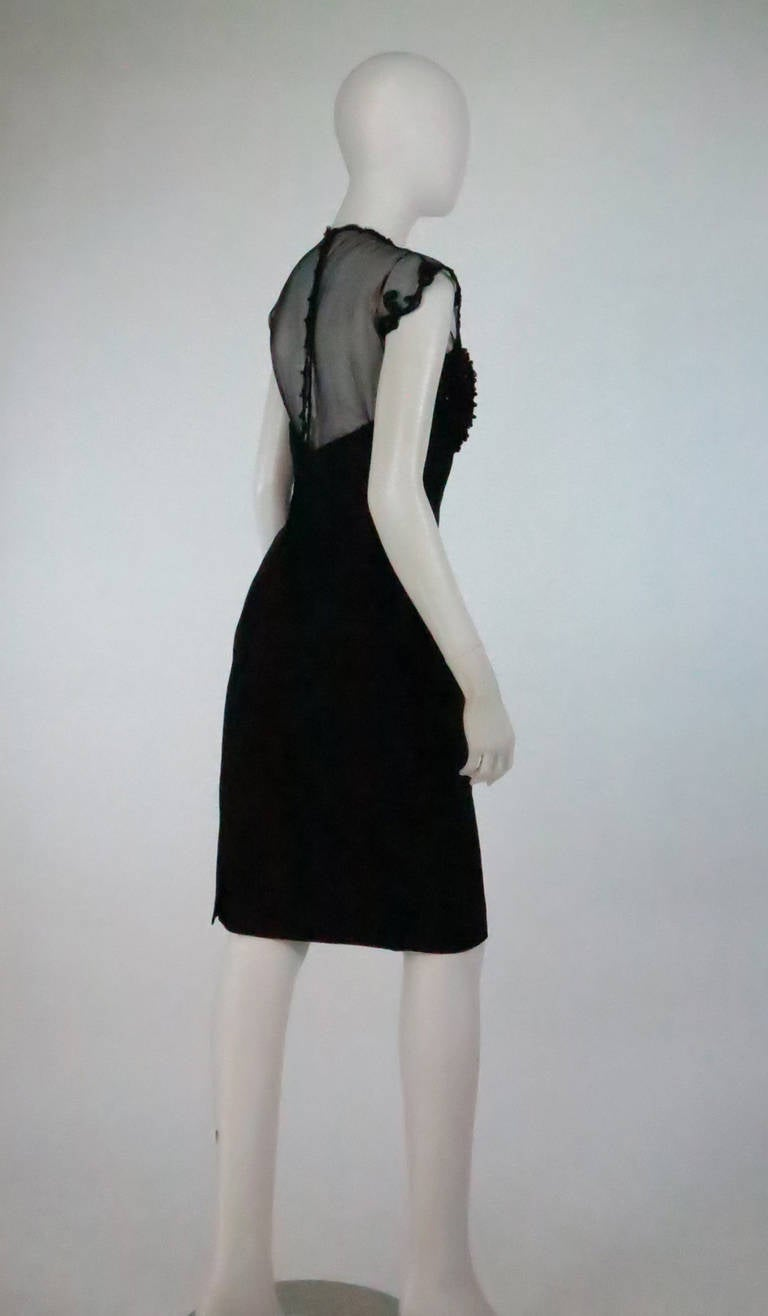 1950s Tur Zel Miami Beach black illusion & jewel bust silk cocktail dress In Excellent Condition For Sale In West Palm Beach, FL