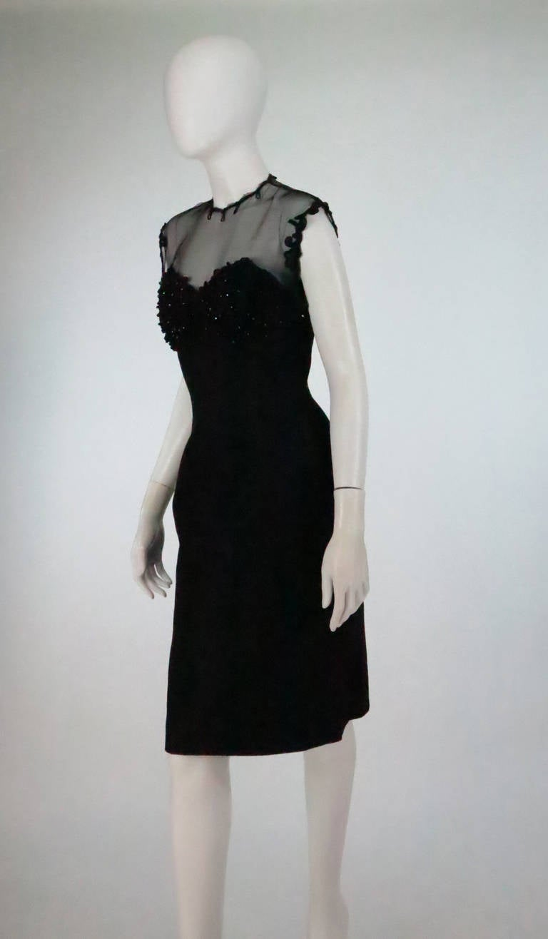 1950s Tur Zel Miami Beach black illusion & jewel bust silk cocktail dress 5