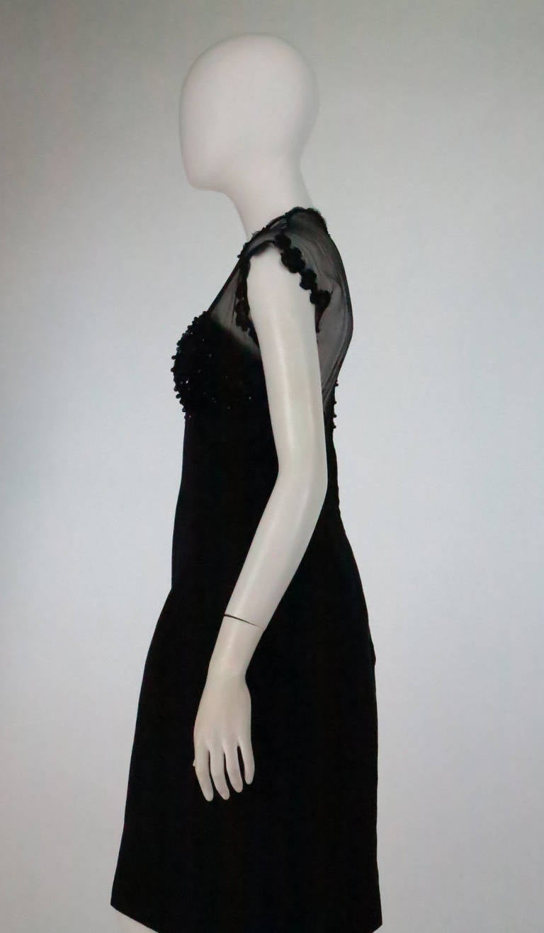 1950s Tur Zel Miami Beach black illusion & jewel bust silk cocktail dress 6