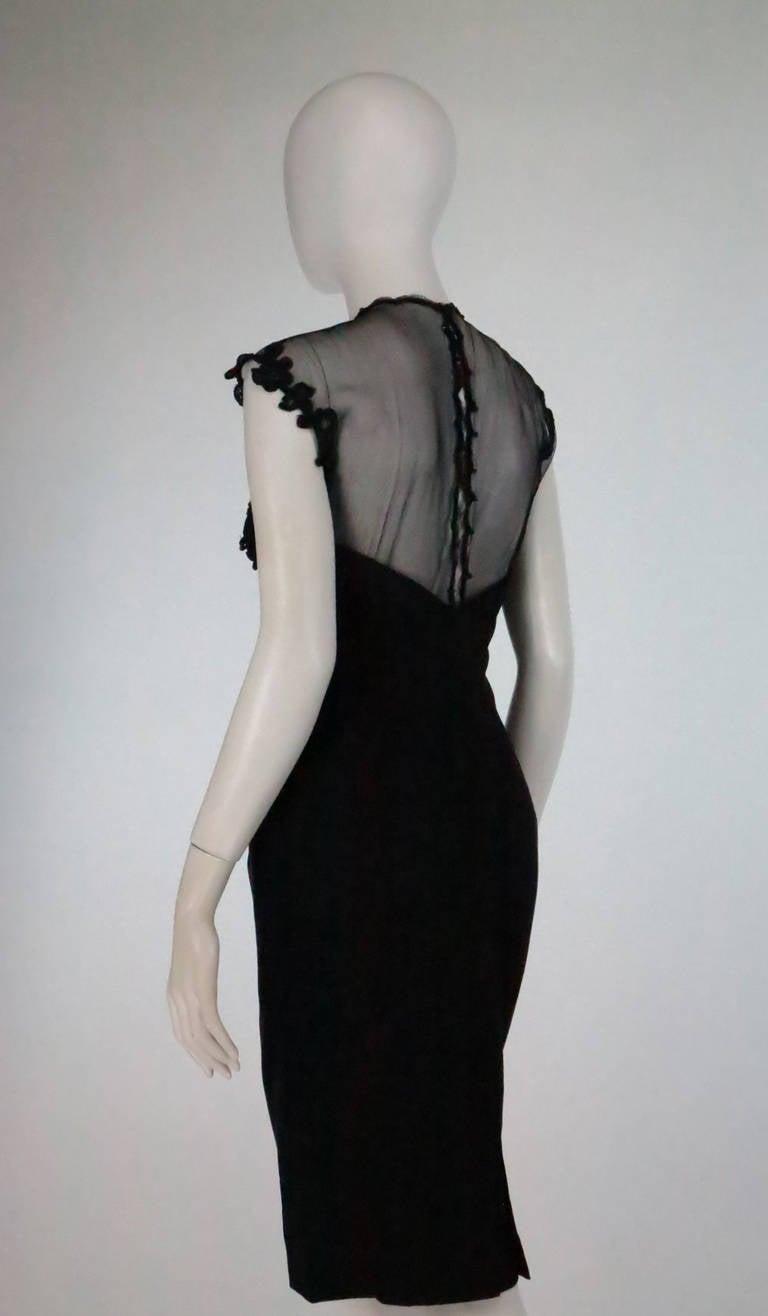 1950s Tur Zel Miami Beach black illusion & jewel bust silk cocktail dress 7
