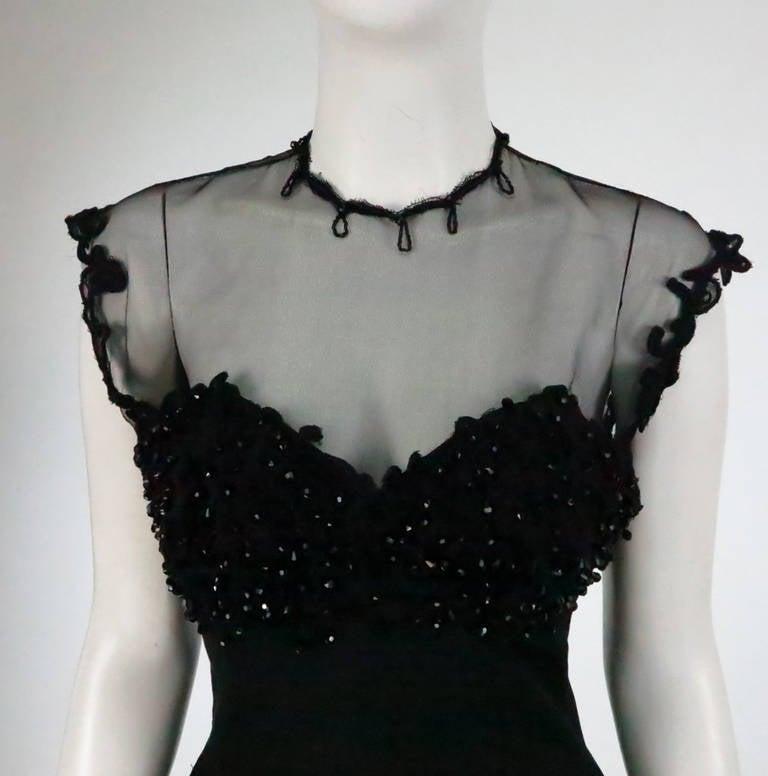 1950s Tur Zel Miami Beach black illusion & jewel bust silk cocktail dress 8