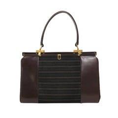 1960s Finnigans of Bond St. London large leather frame handbag
