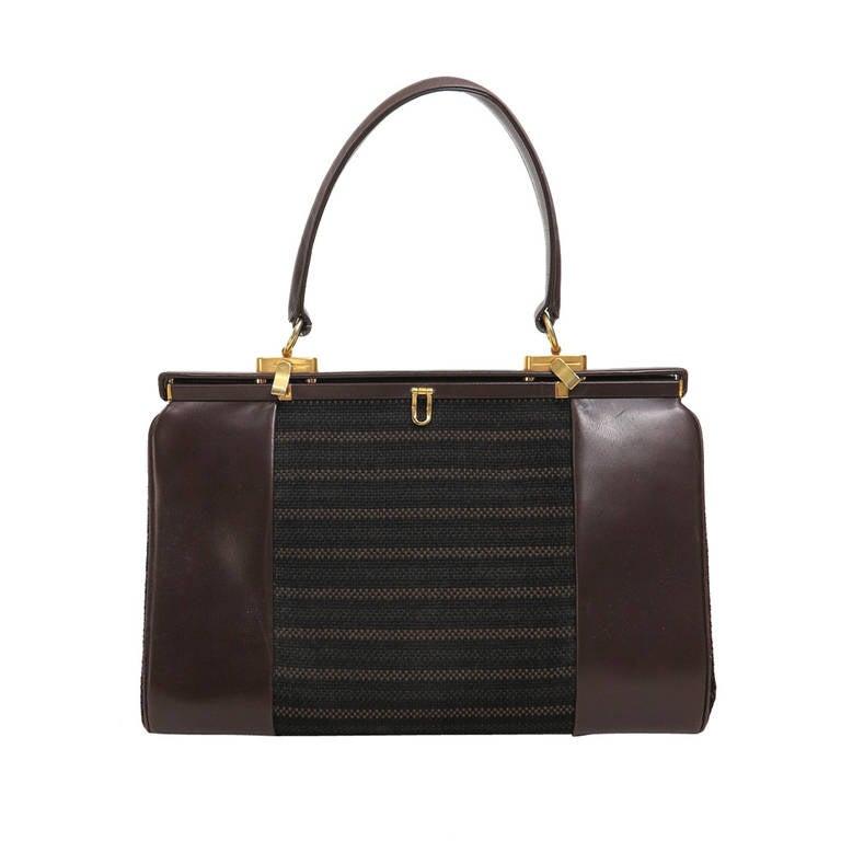 1960s Finnigans Of Bond St London Large Leather Frame Handbag For