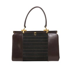 1960s Finnigans of Bond St. London large leather frame handbag