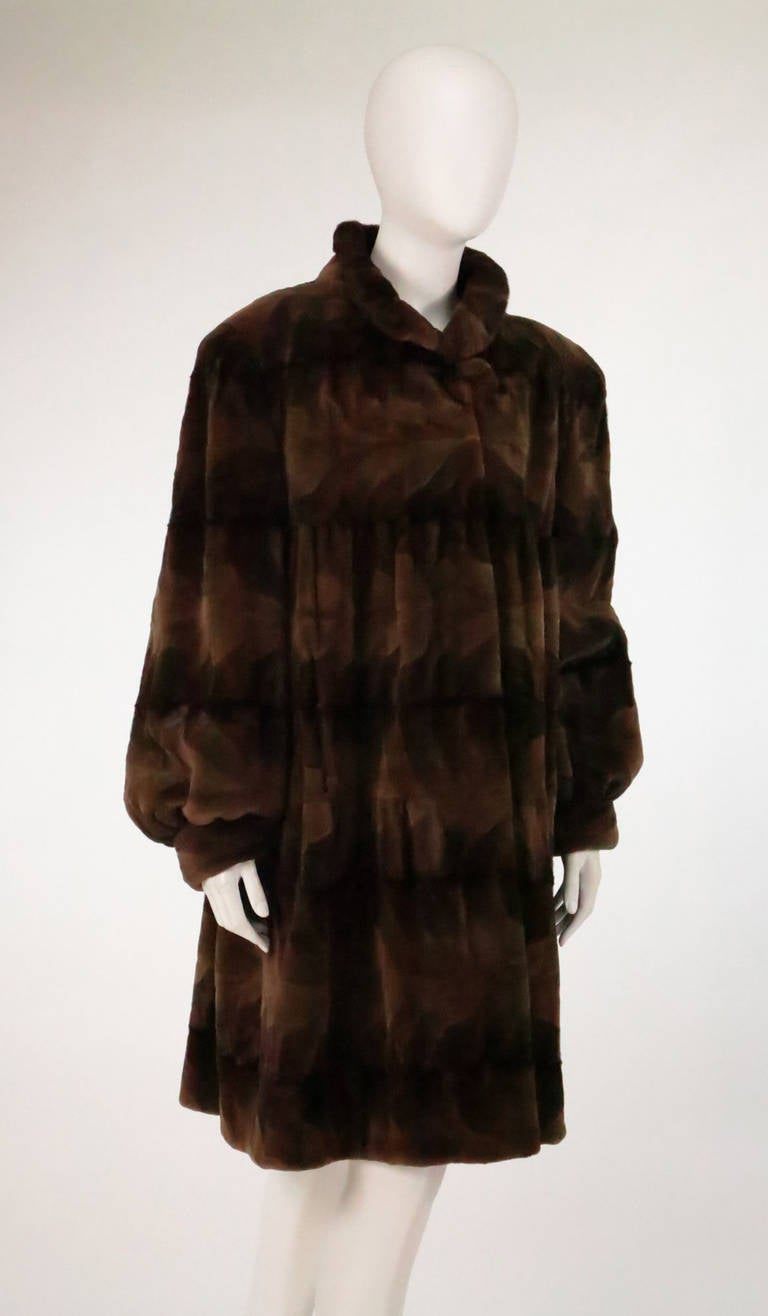 Sheared mink fur patterned two tone swing coat 2