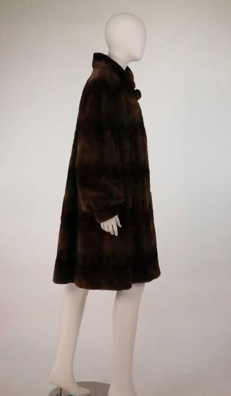 Sheared mink fur patterned two tone swing coat 3