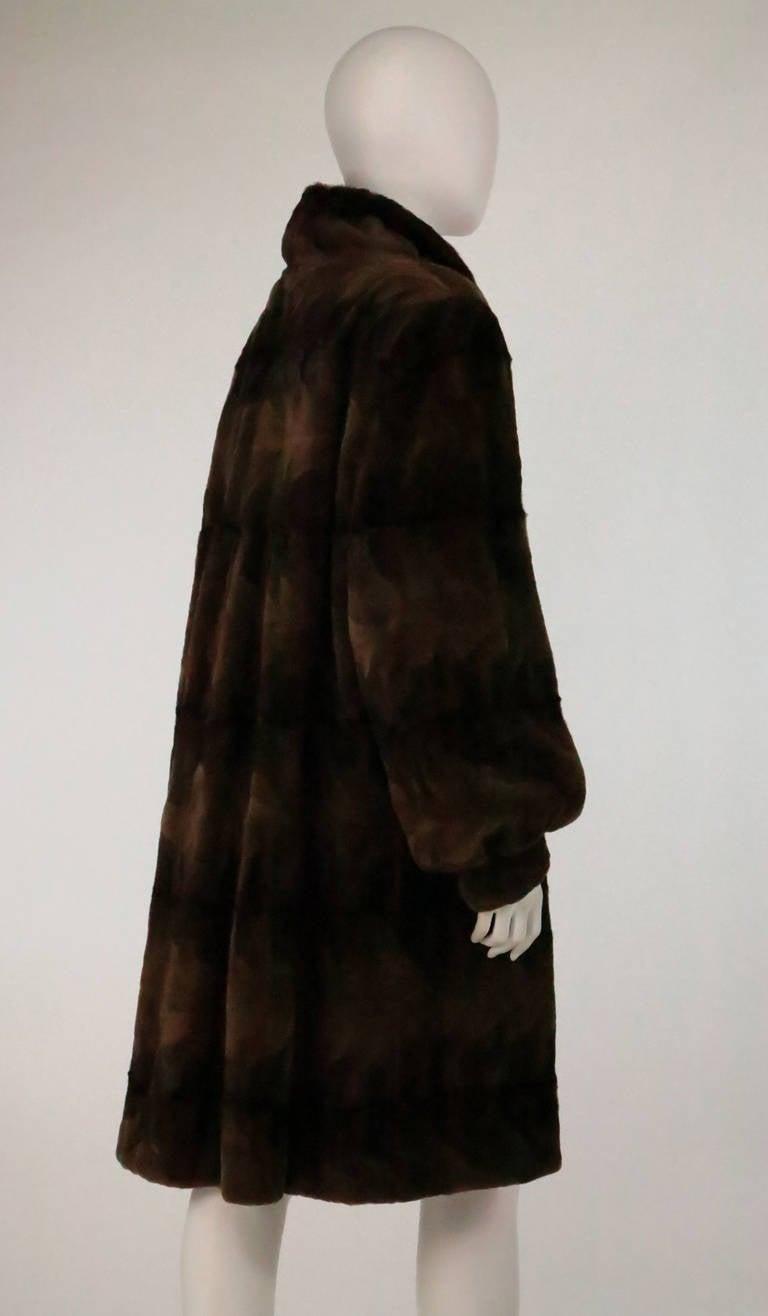 Sheared mink fur patterned two tone swing coat 4