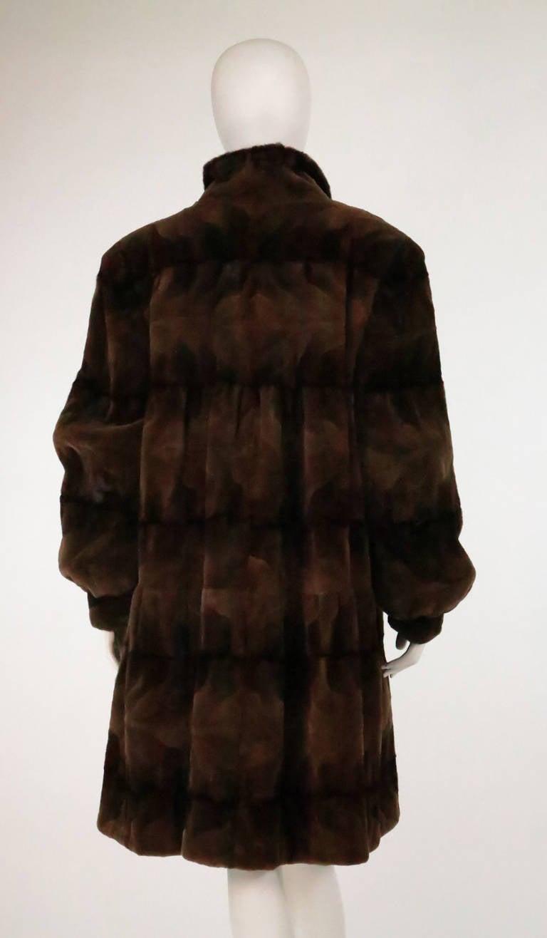 Sheared mink fur patterned two tone swing coat 5