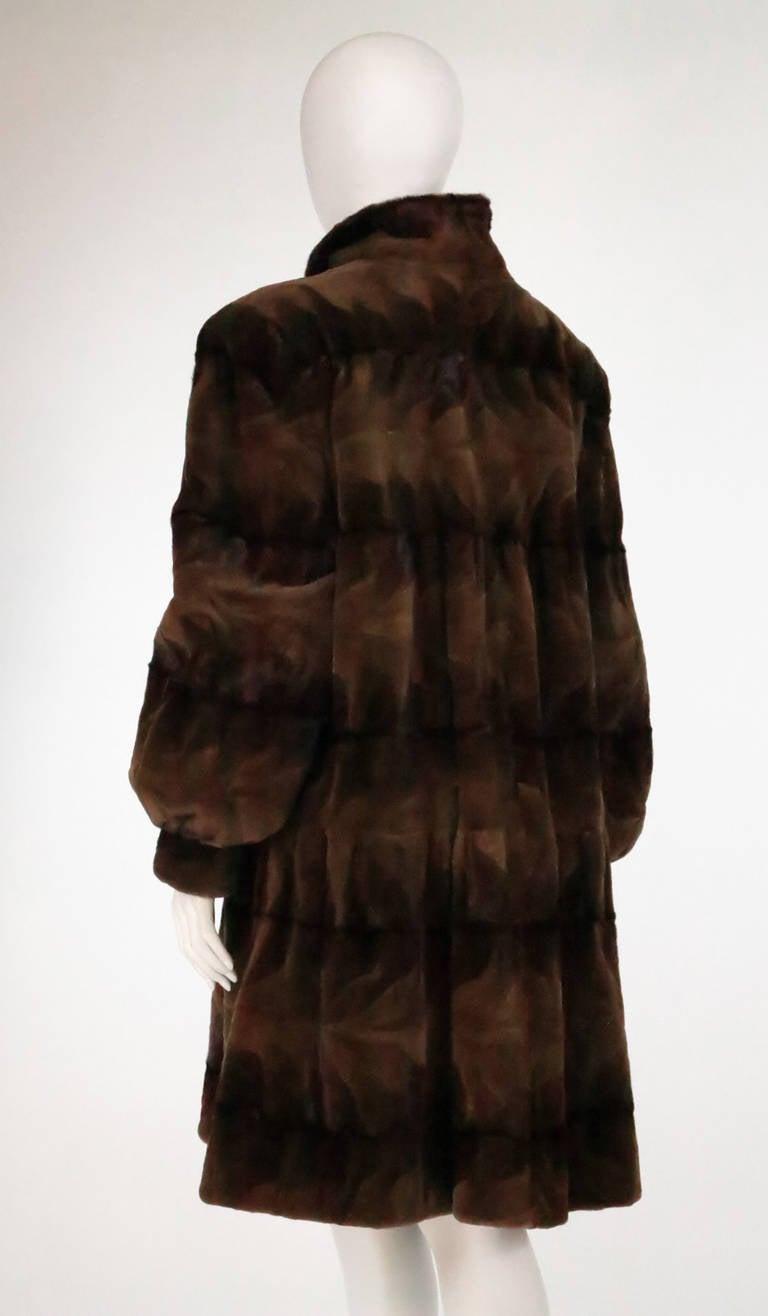 Sheared mink fur patterned two tone swing coat 6