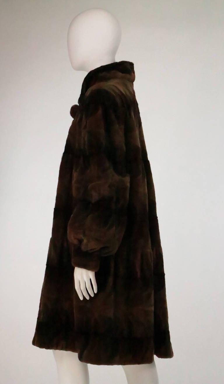 Sheared mink fur patterned two tone swing coat 7