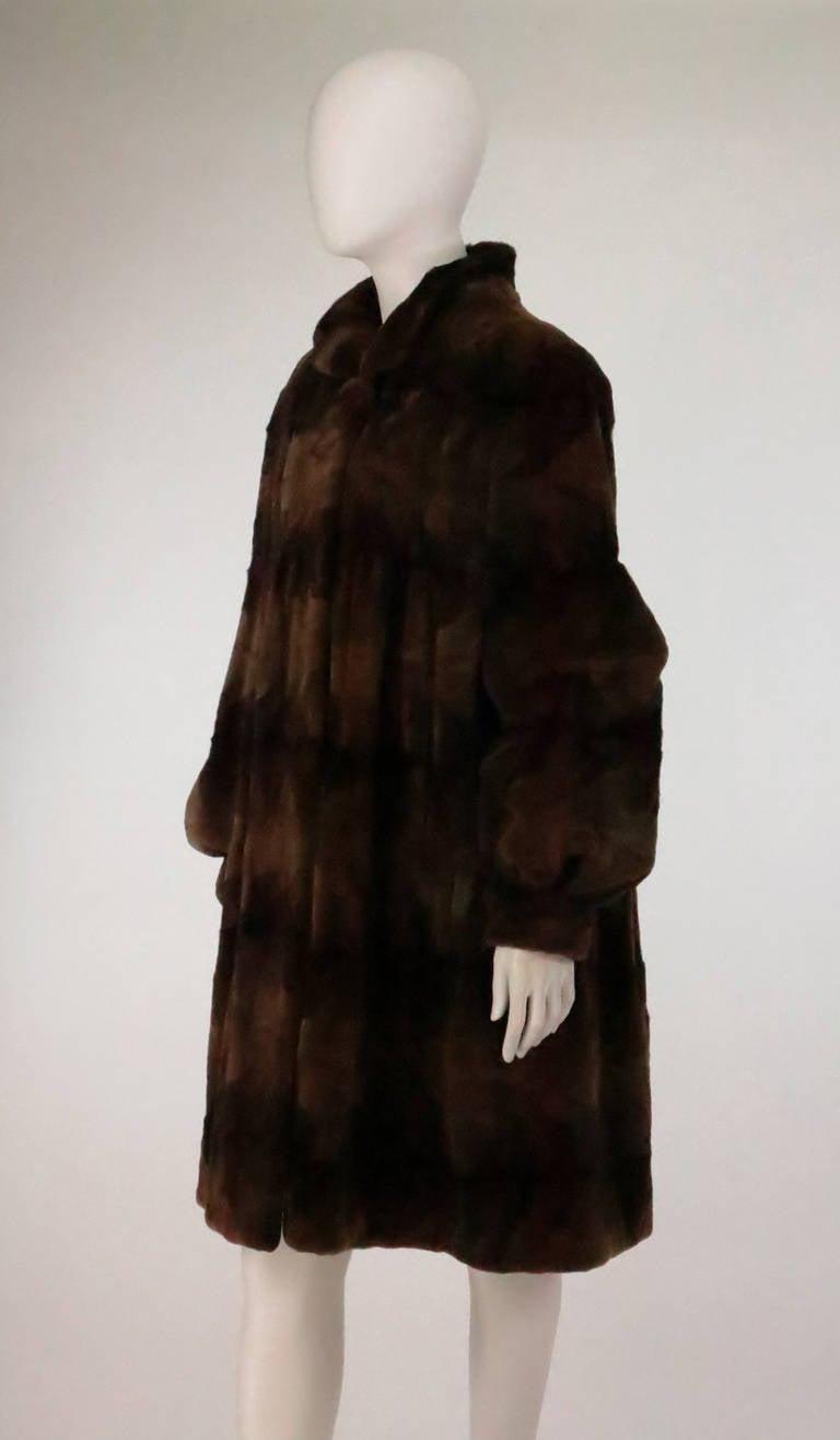 Sheared mink fur patterned two tone swing coat 8