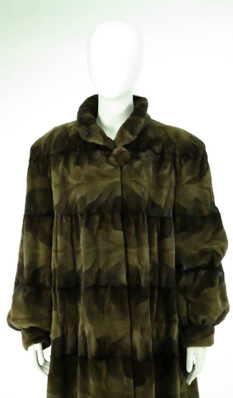 Sheared mink fur patterned two tone swing coat 9