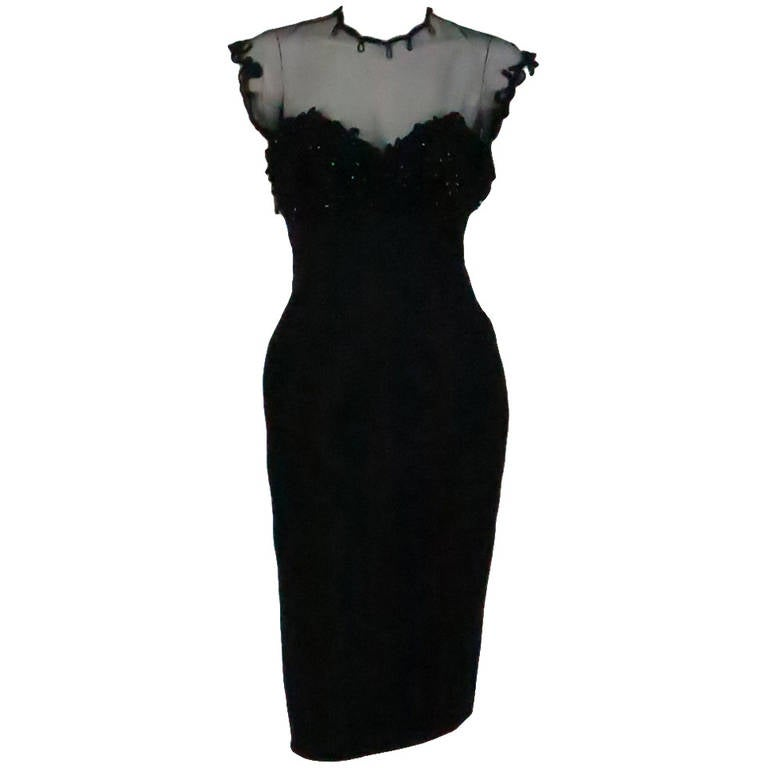 1950s Tur Zel Miami Beach black illusion & jewel bust silk cocktail dress