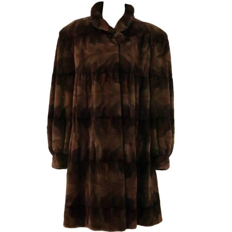 Sheared mink fur patterned two tone swing coat 1