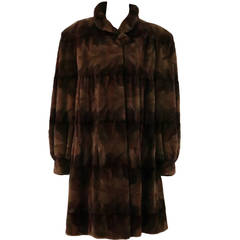 Sheared mink fur patterned two tone swing coat