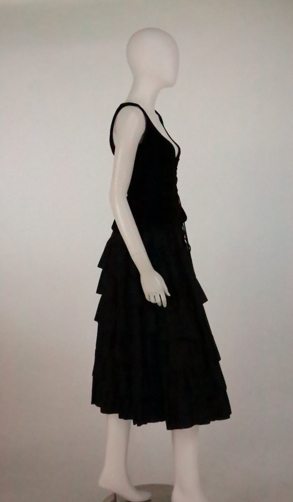 1970s Yves St Laurent 1970s peasant collection black bustier & tiered skirt set 2