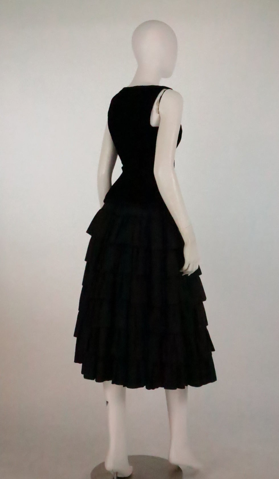 1970s Yves St Laurent 1970s peasant collection black bustier & tiered skirt set 3