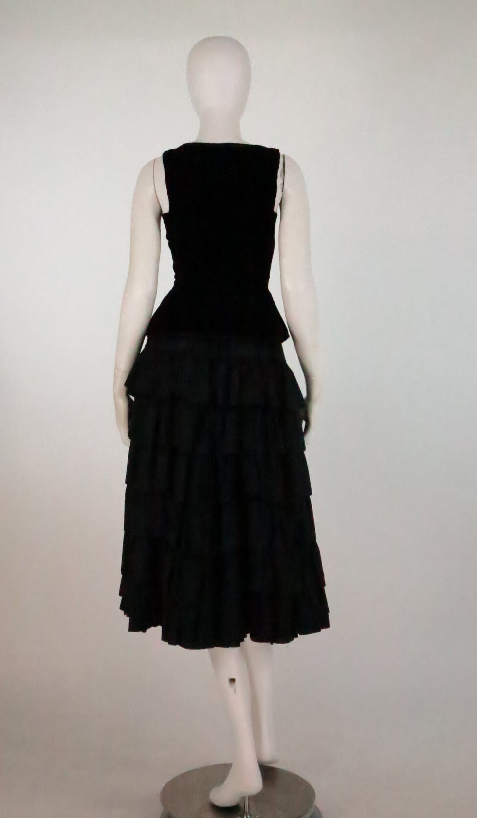 1970s Yves St Laurent 1970s peasant collection black bustier & tiered skirt set 4