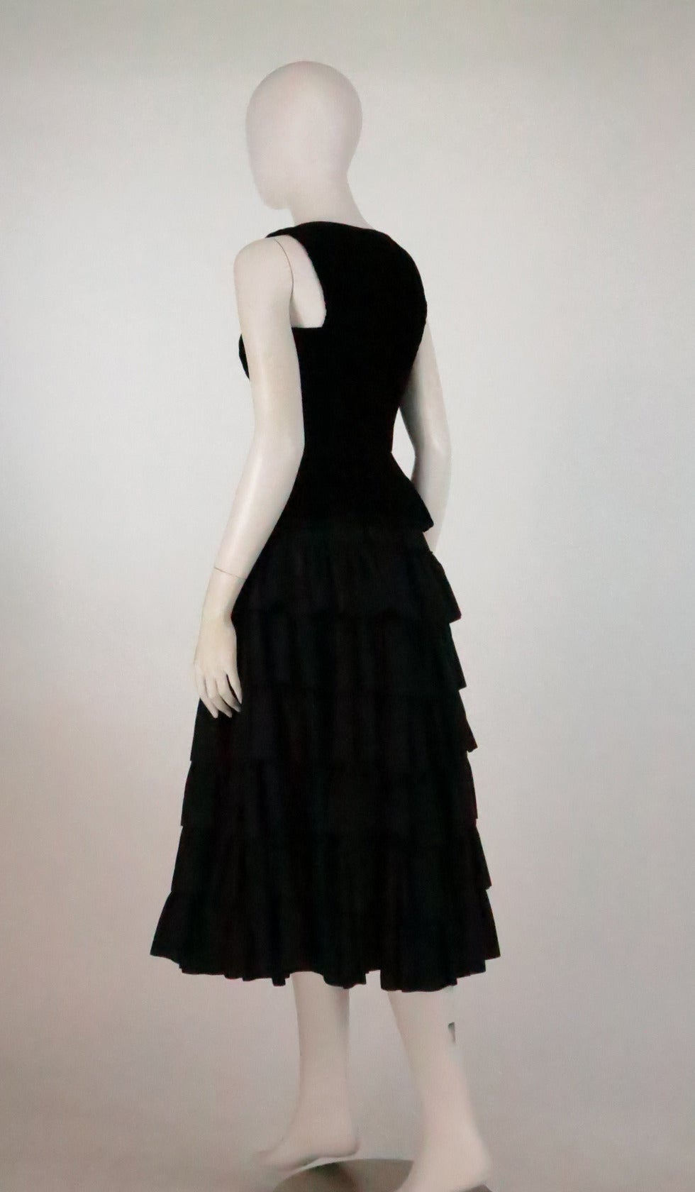 1970s Yves St Laurent 1970s peasant collection black bustier & tiered skirt set 5