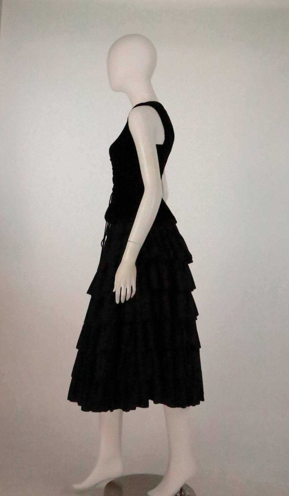 1970s Yves St Laurent 1970s peasant collection black bustier & tiered skirt set 6