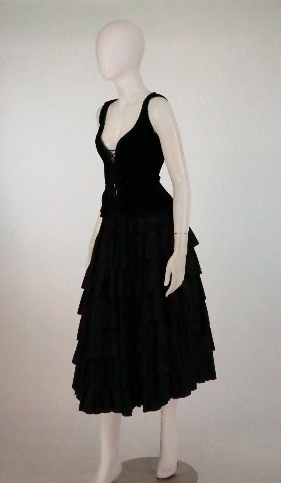 1970s Yves St Laurent 1970s peasant collection black bustier & tiered skirt set 7
