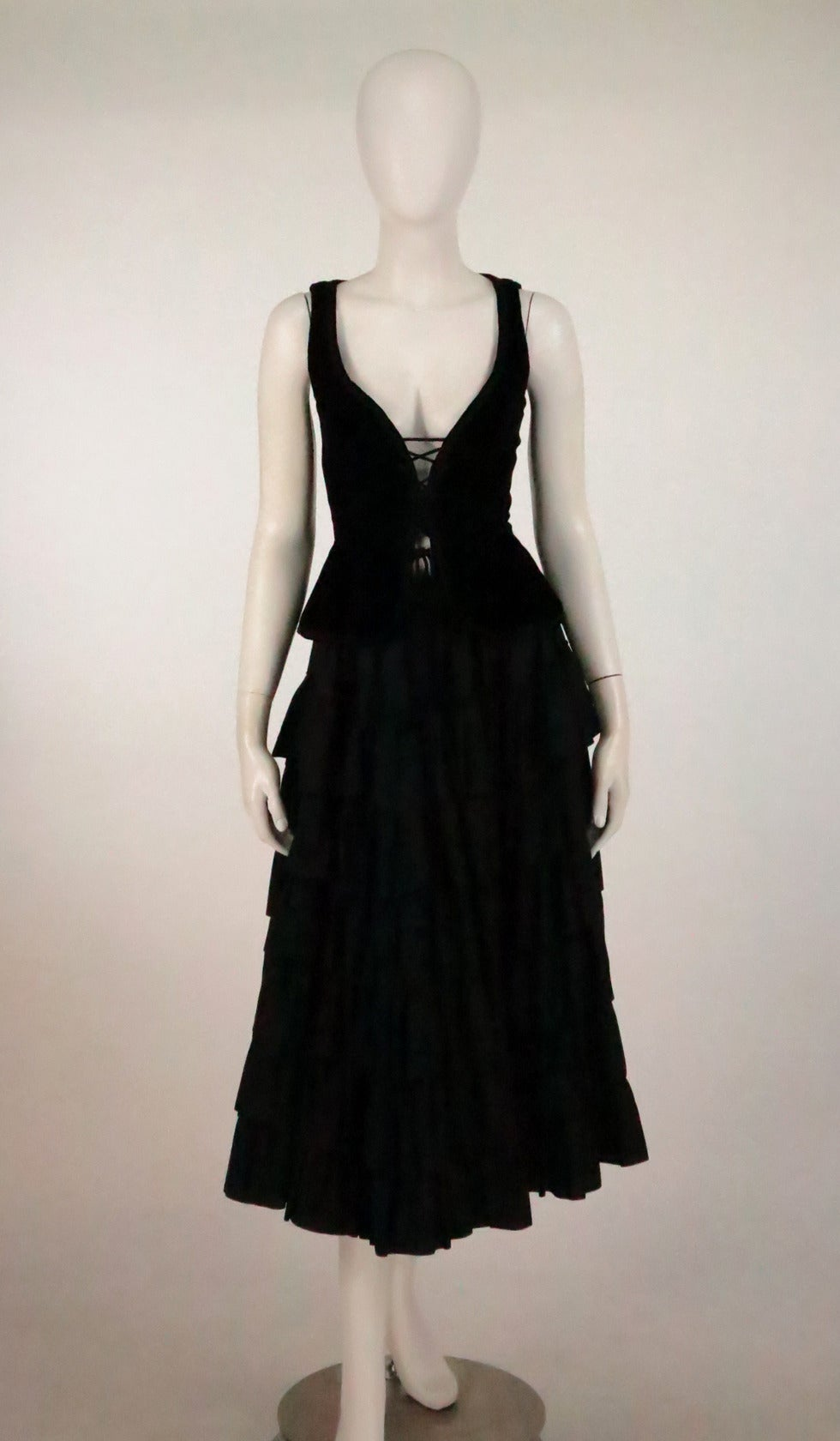 1970s Yves St Laurent 1970s peasant collection black bustier & tiered skirt set 8