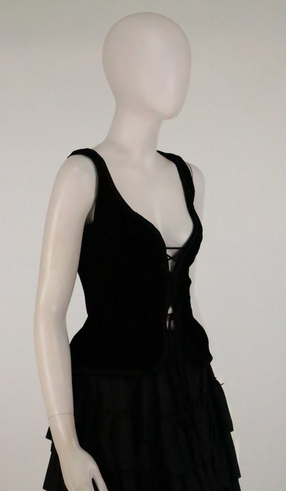 1970s Yves St Laurent 1970s peasant collection black bustier & tiered skirt set 9