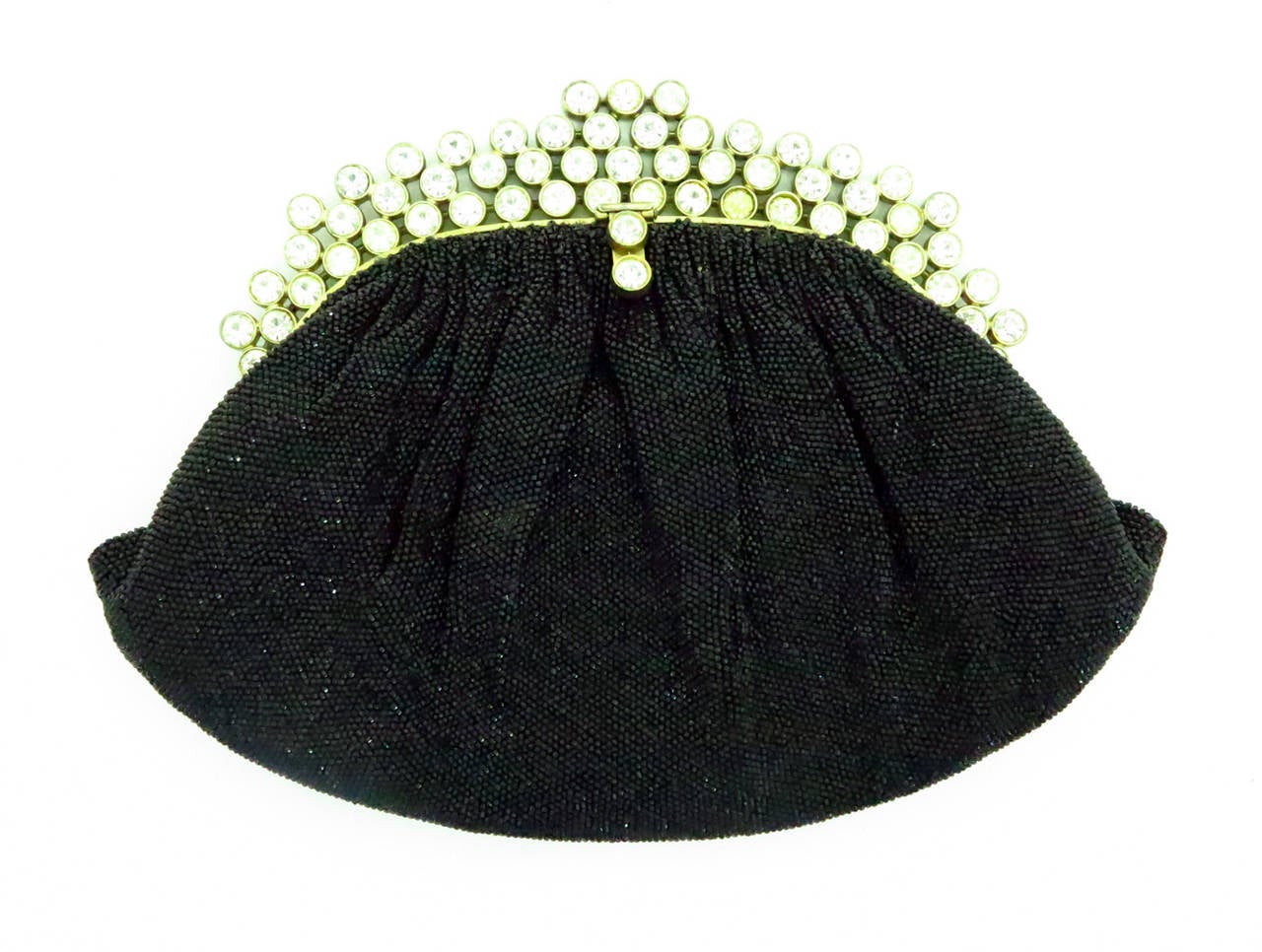 1950s Josef black caviar beaded rhinestone jewel frame evening bag handbag 3